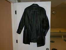 G-III Black Leather Jacket/Coat Button Front Woman's Size Medium
