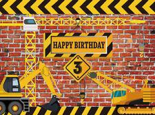 Kids Birthday Construction Party 7X5FT Vinyl Studio Backdrop Photo Background LB