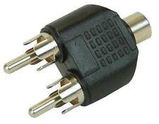 RCA Phono Y Splitter Adapter 2x male plugs to 1x Female Socket AV Audio Video