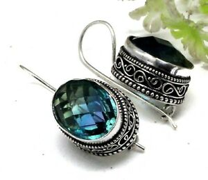 "Tourmaline Gemstone 925 Sterling Silver Handmade Jewelry Vintage Earrings Si-1"""