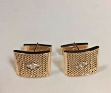 18k gold custom made cuff link with 2 round white sapphires