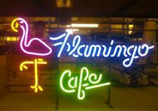 "Flamingo Cafe Neon Light Sign 24""x20"" Beer Bar Decor Lamp Glass Artwork"
