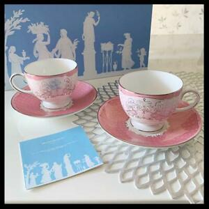 WEDGWOOD Psyche Pair of Teacup & Saucer Rose Bone China In Box New
