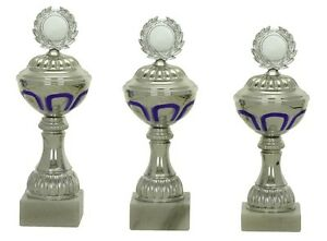 Pokale 3er Serie 557a Silber/Blau mit Höhe=23,5-21,5 cm inkl.Gravur 23,50 EUR
