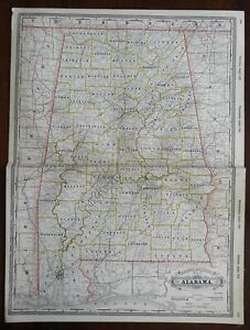 Alabama State & Railroad Map Mobile Birmingham Montgomery 1888 Cram map