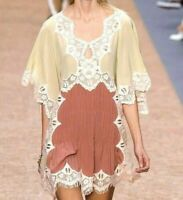 Chloe Spring 2016 Embroidered Lace Beige Pink Silk Runway Dress US 4 6 8 / FR 38