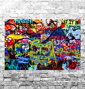 STUNNING ABSTRACT GRAFFITI POP ART #16 QUALITY FRAMED CANVAS PICTURE WALL ART