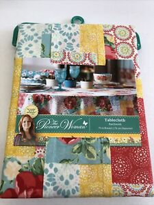 """The Pioneer Women Floral Patchwork 70"""" Round Tablecloth New"""