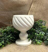 """Vintage 1965 Hull Pottery F5 Swirled Goblet Planter 4 3/4"""" Satin White Pedestal"""
