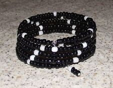 Black and White Beaded Wrap / Coil / Bangle Bracelet Glass Beads Memory Wire USA
