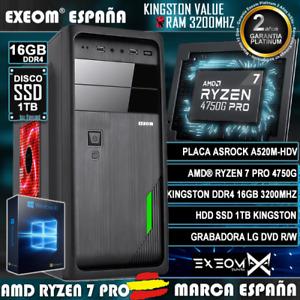 Ordenador Gaming Pc AMD Ryzen 7 Pro 4750G 16GB SSD 960GB de Sobremesa Windows 10