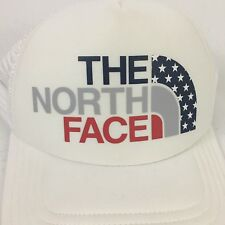 The North Face USA Logo Womens Trucker Hat White Mesh Adjustable Snapback Cap