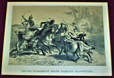 Antique Print , Thieves on Horses Stealing Cows Colonial South Carolina Farm