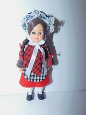 "Vintage Globus Danish Hard Plastic Doll 6 3/4"" ethnic international black hat"