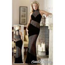 CC Langes Samt Kleid Abendkleid Partykleid Schwarz Silberglitzer Sehr Edel in L
