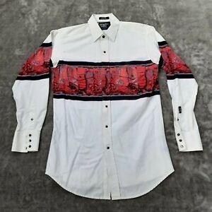Vintage Brooks & Dunn Western Shirt Panhandle Slim Black Pearl Snap Size Medium