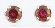 Handmade 925 Sterling Silver Stud Earrings Faceted Genuine Red Peony Topaz 6mm