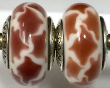 2 pieces  Authentic Pandora 925 ale silver beads charm glass giraf  ss