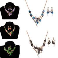 Frauen Kristall Schmetterling Anhänger Choker Chunky Lätzchen Halskette+Ohrring&