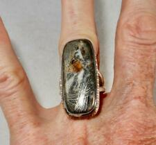 Pyrite in Agate Long Rectangle Ring 925 Sterling Silver Size 9 Balancing Stone