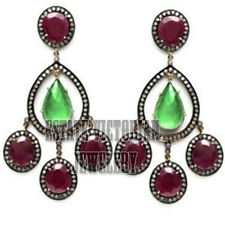 Studded Silver Victorian Earring Jewelery 3.10Cts Pave Rose Cut Diamond Gemstone