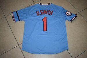 New!! Ozzie Smith Blue St. Louis Cardinals Pull-Over Baseball Jersey Men's Large