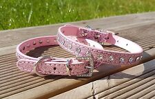 Dog Collar PU Leather Puppy Jack Pug Pom Chi for XS Small Diamante Glitter Bling X-small 21-28cm W 1cm Light Pink
