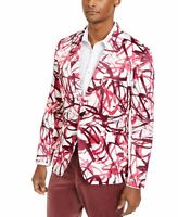 INC Mens Sport Coat Pink Size Medium M Abstract Print Slim Fit Scuba $149 #068
