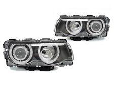 Depo 99-01 BMW E38 7-Series Black Angel Eyes Halo Rings Projector Headlight DOT