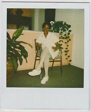 Vintage 80s Polaroid PHOTO Smiling Black Woman in White Nurse Uniform Stockings