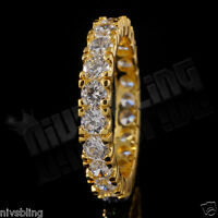 18K Yellow Gold Wedding Engagement Eternity CZ Women Ladies Fashion Promise Ring
