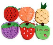 6 Girls Soft Plush Fruit Coin Wallet Pouch Money Purse Party Bag Filler Gift Set