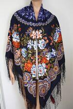Pawlow Posad//Pavlovo Posad russischer Schal-Tuch Tradition146x146 Wolle 1797-5