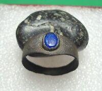 Ancient Roman Bronze Ring with Blue Stone Original Authentic Antique Rare R845