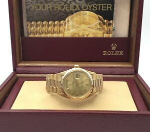 Rolex 18k Gold Day Date President Pie Pan Dial Watch 1803 With Box Vintage 1969