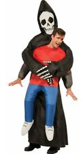 Adult Inflatable Grim Reaper Fancy Dress Costume Mens Halloween Skeleton Costume