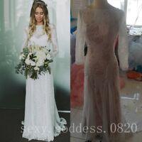 Romantic Full Lace Beach Wedding Dresses Sheath Long Sleeves Bridal Gowns Custom