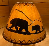 "PAIR (2 ea.) Rustic Oiled Kraft Laced Bear Scene Lamp Shades - 14"""