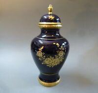 Große Deckelvase Porzellan Vase Echt Kobalt blau Gold 22 Karat 33 cm hoch um1958