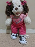 Build A Bear Plush Dog Jeans T-shirt Shoes & Bows 44ish cm Fully Dressed