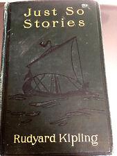 1915 Just So Stories Rudyard Kipling Illustrated Whale Cat Elephant Rhinoceros