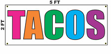 Tacos Multi-colored Banner Sign 2x5 for Mexican Restaurant or Stand Truck