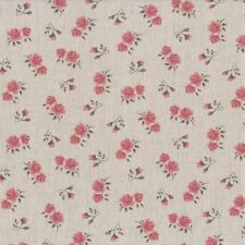 Tissu Lin Shabby Chic - Petites fleurs rose foncé - 24x70cm