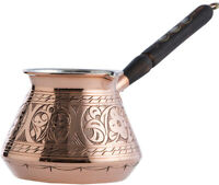 Turkish Greek Arabic Engraved Copper Coffee Pot Maker Cezve Ibrik Briki, 15 Oz.