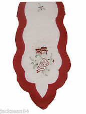 "CHRISTMAS RED CREAM GOLD BELLS CANDLES HOLLY EMBROIDERED TABLE RUNNER 14"" X 70"""