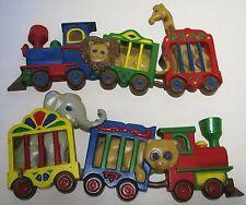 Burwood Wall Hangings Art Plaques Set Trains Animals Zoo Circus Nursery Decor