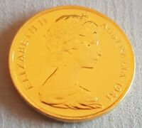 Australia 1981 5 cents Gold Plated Coin Elizabeth II Makes a Terrific Gift