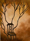 ACEO Landscape Surreal Tree Chair Golden Sunset Grow Original Motyl Painting