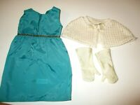 American Girl Retired Rebecca Costume Set Teal Dress Knit Sweater Shawl,Gloves