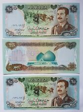 New listing Saddam in uniform 25 Dinar Iraqi notes. 3 consecutive notes in mint condition